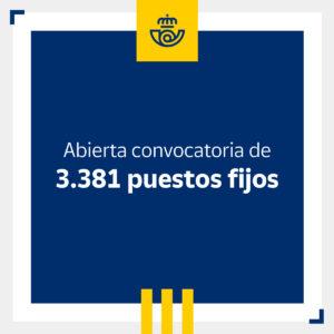 nueva convocatoria de oposiciones con 3421 plazas de empleo fijo en correos